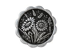 3 Daisies Metal Shank Buttons 5/8 inch  15 mm  by ButtonJones, $3.00