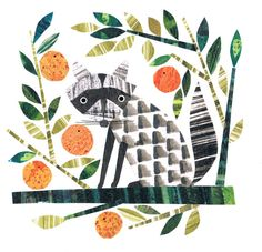 Lurking raccoon planning on making his own marmalade limited edition giclee print by Jane Ormes Paper Collage Art, Collage Artists, Paper Art, Collages, Drawing For Kids, Painting For Kids, Gelli Printing, Screen Printing, Collage Illustration