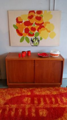 This cheery Rya pulls this look together...Gonna be a bright....bright....sunshiny day!  Forever!  Rya Rug, Marimekko Print, Larsen Credenza, Frankoma Accessories all available @ ForeveRetro...The Home of Mid Century Modern