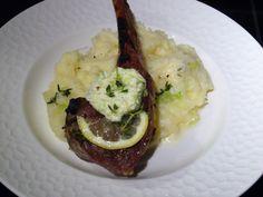 Grilled Double-Cut Lamb Chops, Green Garlic Herb Butter, Green Garlic Mashed Potatoes Recipe