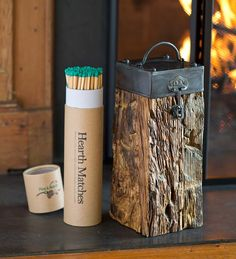 Recycled Wood And Iron Fireplace Match Holder With Matches | Fire Starters