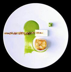 Yin et yang culinaire… Zen à déguster !... ;) Gros pétoncle poêlé, purée fine de petits pois, d'autres simplement au beurre, royale de lard fumé, crumble noisette-bacon. (From Éric Gonzalez)…