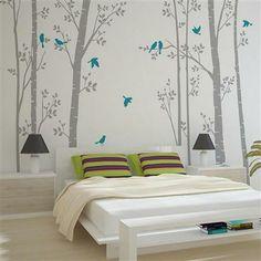 Zazous Leafy Trees Grey With Turquoise Birds Wall Sticker