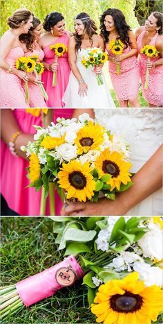 pink bridal party with sunflower bouquets 2 @weddingchicks