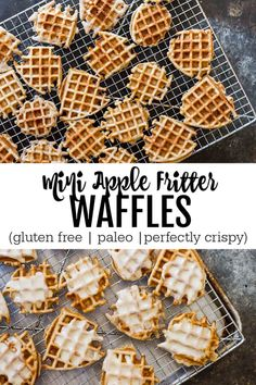Mini Apple Fritter Waffles (gluten free and paleo) - Savory Lotus Gluten Free Breakfasts, Gluten Free Desserts, Dairy Free Recipes, Real Food Recipes, Yummy Food, Paleo Food, Tasty, Foods With Gluten, Sans Gluten
