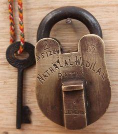 Antique Vintage Handmade Beautiful Shape 4 Lever Brass Padlock ALIGARH