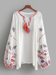 SheIn offers Tassel Tie Embroidered Bishop Sleeve Blouse & more to fit your fashionable needs. Stylish Dresses For Girls, Cute Dresses, Casual Dresses, Pakistani Formal Dresses, Pakistani Dress Design, Kurti Neck Designs, Kurta Designs Women, Frock Fashion, Fashion Outfits