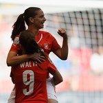 Fabienne Humm of Switzerland celebrates with Lia Waelti