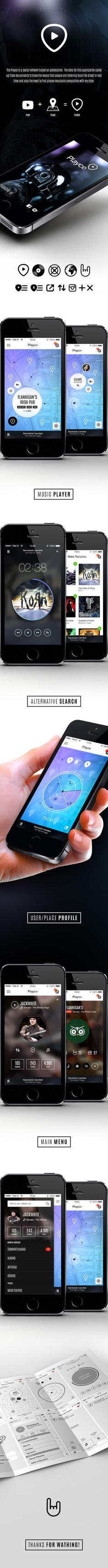 Playce - App Design by Leonardo Navarro, via Behance Ui design mobile Web Design, App Ui Design, Dashboard Design, Graphic Design, Gui Interface, User Interface Design, Wireframe, Apps, Mobile Ui Design