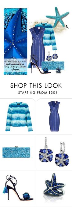 """Sea & be Seen! Starfish challenge"" by quicherz on Polyvore featuring Unreal Fur, Hervé Léger, Edie Parker, Effy Jewelry and Aquazzura"