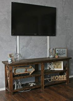 Farmhouse DIY tv console or behind the couch table