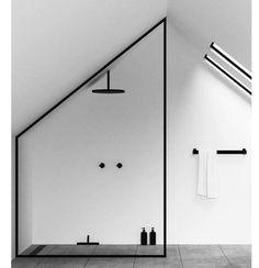 Bathroom in a Modern Loft Interiors ., Minimalist Bathroom in a Modern Loft Interiors ., Minimalist Bathroom in a Modern Loft Interiors . Design Minimalista, Interior Minimalista, Black Bathroom Taps, Modern Bathroom, Bathroom Ideas, Simple Bathroom, Shower Ideas, Modern Faucets, Modern Vanity