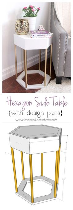 Make this modern Hexagon Side Table for your own home. Tutorial and design plans included :)