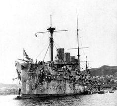 "After battle. Cruiser ""Russia""in Vladivostok. 1904"