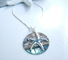 GIVEAWAY Starfish & Abalone Disc Necklace by Camla on Etsy, $65.00
