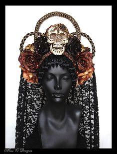 Tag von den Toten Skull & Blume Kopfschmuck mit Schleier bestellen gemacht