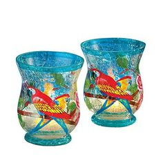Tropical Parrot Hurricane Candle Holders - Set Of 2, Blue