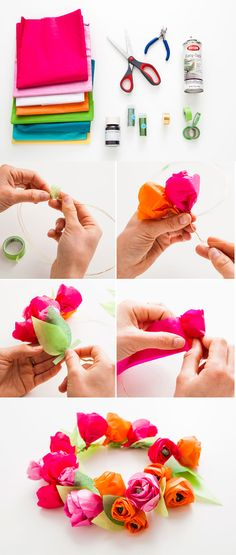 flores-papel-diy-guirnaldas-muy-ingenioso-3 Diy Craft Projects, Diy And Crafts, Arts And Crafts, Paper Crafts, Summer Pool Party, Luau Party, Tissue Flowers, Paper Flowers, Kanzashi Tutorial