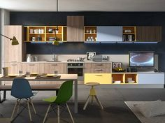 Fitted kitchen with integrated handles TOUCH - ABACO BY SNAIDERO by Snaidero design Snaidero design