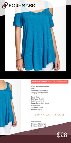 Women's small cold shoulder blouse teal blue NWT This is a beautiful blue teal cold shoulder women's blouse Harlowe & Graham brand new with tags.  See pic for more descriptive info.  Buy with confidence I am a top rated seller, mentor, and fast shipper.  Thank you. Harlowe & Graham Tops Blouses