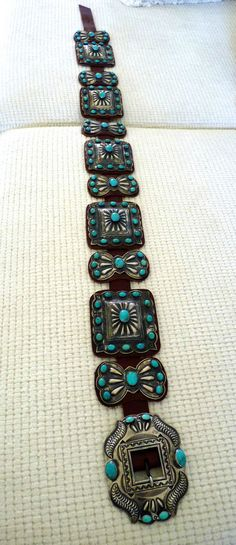 "COLLECTIBLE KIRK SMITH TURQUOISE STERLING BELT 39"" LADIES SIZE LARGE STONES"