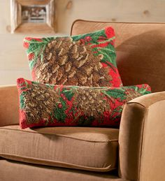 oh my!! i want four of the square pillows! Hand-Hooked Pine Cone Wool Pillows