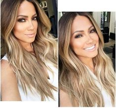 Jessica Burciaga beautiful hair color and style. Sombre. Soft ombre. Golden blond, honey blonde light brown roots