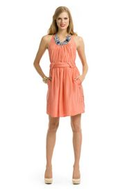 Love the color, love the draping, love the ease of style, LOVE RTR - AllDressedUp's Coral Geometric Neck Dress $600/RTR $75