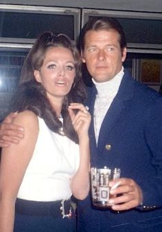 Jackie Collins with Roger Moore