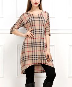 Look at this Beige Tartan Hi-Low Tunic - Women on #zulily today!