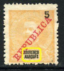 """D. Carlos I com sobrecarga """"Republica"""" 5r (*) Erro"""