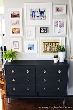 Ikea Rast Hack / Makeover - Two dressers become one classy repurposed piece in the entryway.