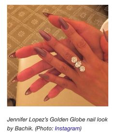 Pin for Later: See the Best Fall Nail Trends From the American Music Awards Red Carpet Jennifer Lopez, Golden Globes Surprise! Jennifer's Golden Globes manicure featured subtle reverse nail art — tiny rhinestones under each talon. Gorgeous Nails, Love Nails, How To Do Nails, Pretty Nails, Classy Nail Designs, Gel Nail Designs, Classy Nails, Simple Nails, Fall Nail Trends