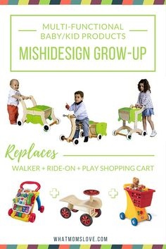 MishiDesign Grow-Up is featured as one of our finds for clever, multi-functional products that will grow with your child. This innovative, solid-wood 3-in-1 toy will bring your child years of enjoyment – from their first steps, until age 6+. It starts out as a sturdy walker then easily converts to a ride-on toy with a wagon. Finally, it can be transformed into a play shopping cart/toy stroller. Genius!