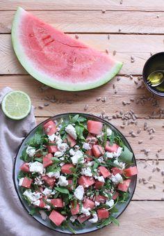 watermeloen salade met munt en fetakaas goestjes