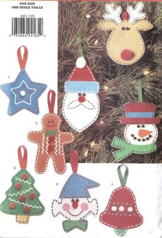 CHRISTMAS TREE ORNAMENTS Sewing Pattern - Reindeer Snowman Gingerbread Elf & More