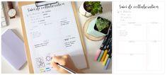 Planner à imprimer - suivi de collaboration Organiser, Filofax, Bullet Journal, Creations, Organization, How To Plan, Diy, Day Planners, Organized Planner