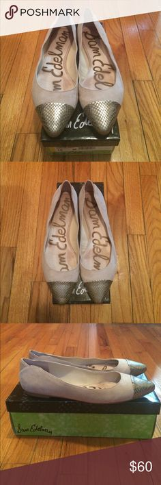 Sam Edelman Two Tone Flats Nude suede and gold snakeskin make for a fun and funky pointed toe ballet flat. Only worn a couple times these are in great condition. Come with original box. Sam Edelman Shoes Flats & Loafers