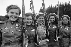 Soviet female snipers during WW2. Usually they were from Siberia, where hunting was a way of life and sometimes women had to take care of feeding the family, including a husband.