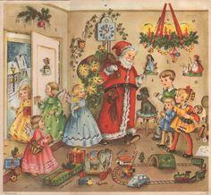 Vintage Advent Christmas Calendar West Germany German Mica Glitter Santa Angels #Unbranded