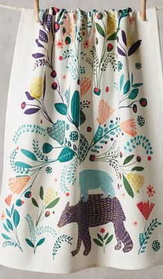 print & pattern blog - anthropologie tea towel. folk,saga,bear