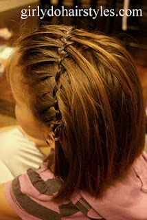 Girly Dos By Jenn: Ideas For Short Hair Waterfall Pigtails, shows a picture with short hair down or in pigtails Little Girl Hairstyles, Pretty Hairstyles, Straight Hairstyles, Braided Hairstyles, Girl Hair Dos, Toddler Hair, Look Fashion, Hair Hacks, Hair Trends