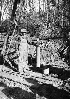 Worker with drilling equipment, 1935