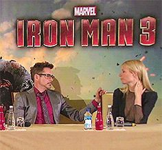 When Robert was too busy smiling at Gwyneth to answer a question: | Robert Downey Jr. And Gwyneth Paltrow's Most Adorable Moments