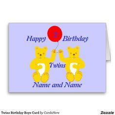 Twins Birthday Boys Card Greeting Card