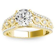 Graduating Diamond Twisted Engagement Ring 14k Yellow Gold 0.38ct - Allurez.com