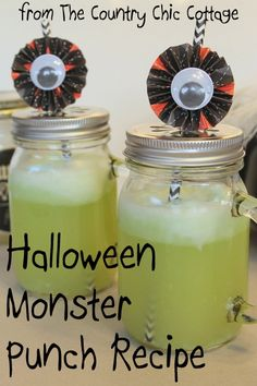 Halloween Monster Punch plus MORE Halloween Crafts ~ * THE COUNTRY CHIC COTTAGE (DIY, Home Decor, Crafts, Farmhouse)