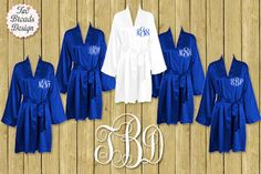 FREE ROBE Set of 7 or MORE Silk Satin Robes, Royal Blue Robe, Plus Size Available Personalized, Bridesmaid Gift Brides Monogrammed Robes