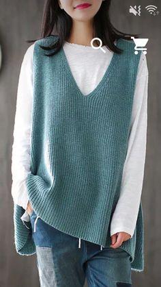 Knit Fashion, Look Fashion, Fashion Outfits, Fashion 2020, Cardigan Outfits, Blouse Outfit, Lady Rockers, Cardigan Au Crochet, Crochet Blouse