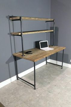 Divine Pipe Computer Desk Design Raw Reclaimed W 2 Shelves Attach To Wall Industrial Gas Piping For Black Iron